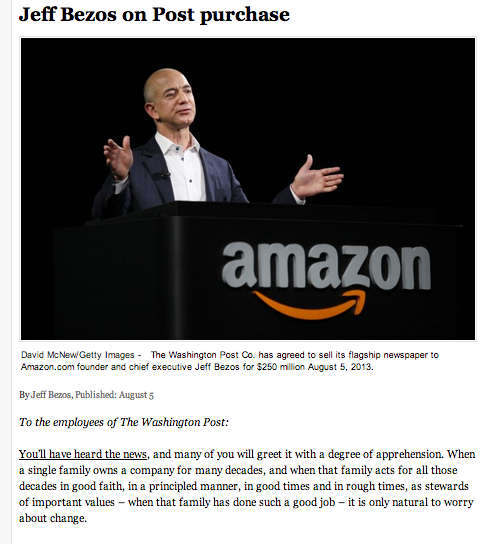 Jeff Bezos's letter to the Post's staff
