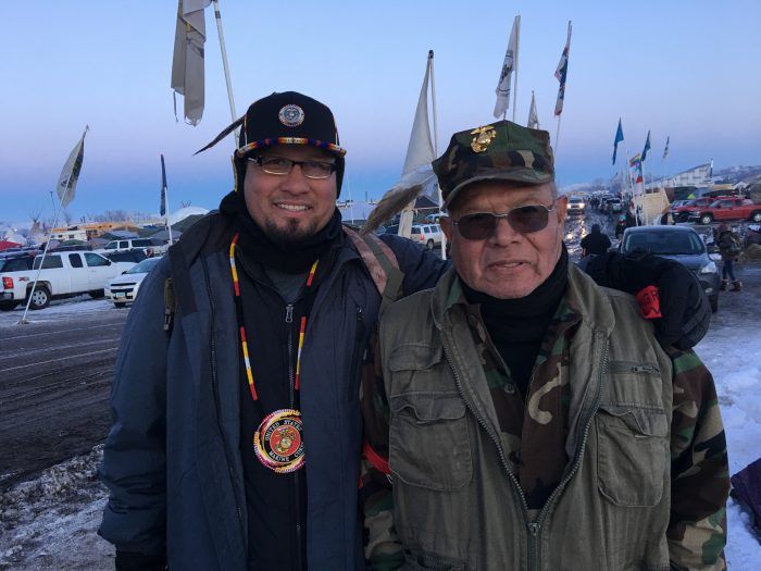 Native American Marine Corps veterans Bugsy Barnowski and Andrew Lowe came from Oklahoma for the veterans deployment at Standing Rock